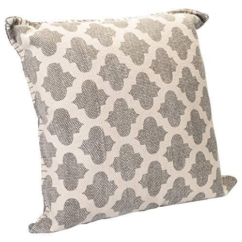 Lattice Dhurrie Light Grey Cream Quatrefoil 20 x 20 Indoor Outdoor Throw Pillow by India House Brass