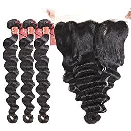 Brazilian Loose Wave 3 Bundles with 13 X 4 Free Part Lace Frontal Closure, Unprocessed Human Hair Extensions Brazilian Virgin Hair Weave Natural Black Color(16 18 20+14inch closure)