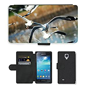 Super Stella Cell Phone Card Slot PU Leather Wallet Case // M00149011 Seagull Bird Sea Nature Animal Fly // Samsung Galaxy S4 Mini i9190