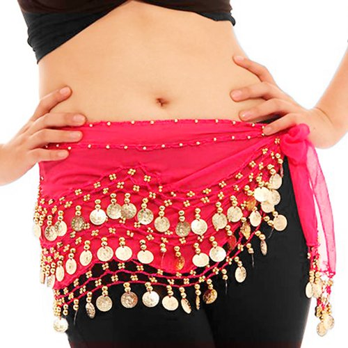Finejo Girl's 3 Rows 128 Gold Coins Belly Dance Hip Scarf Wrap Belt