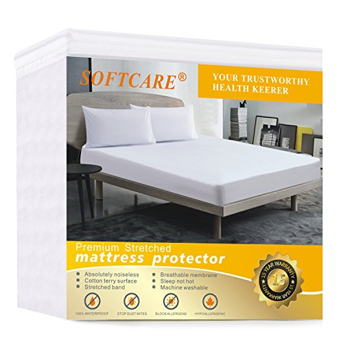 Twin Size Mattress Protector Premium 100% Waterproof Hypoallergic & Breathable, Vinyl Free, Quilted Mattress Cover Cotton Terry Surface Machine Washable,15 year Warranty SOFTCARE