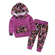 TIFENNY Baby Kids Long Sleeve Floral Print Tracksuit Top +Pants Sets (6M, PP)