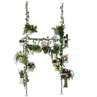Baoyouni Indoor Plant Stands Spring Double Tension Pole Metal Flower Display Rack Space Saver Corner Floral Pot Storage Shelf with 12 Trays, 2 Hooks & 1 Telescopic Rod for Clothes Drying Hanger, Ivory
