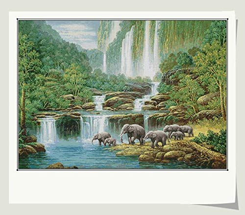 Zamtac Gold Collection Counted Cross Stitch Kit Elephant Elephants Paradise Eden Fairyland Funland Waterfall Forest - (Cross Stitch Fabric CT Number: 14CT unprint Canvas) (14k Waterfall Collection)