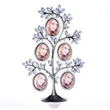 QTMY Metal Family Tree with 5 Hanging Picture Frames Collage Desk Ornaments
