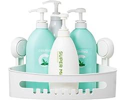 TAILI Suction Corner Shower Caddy Bathroom Shower Shelf Storage Basket Wall Mounted Organizer for Shampoo, Conditioner, Plast