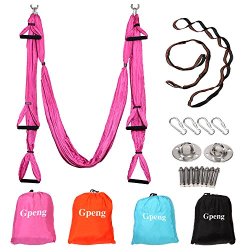 Gpeng Aerial Flying Yoga Hammock Set - Yoga Swing / Inversion / Sling Hammock with 2 Daisy Chain Adjustable Straps + All Installation Hardward + Installation Guide (Pink)