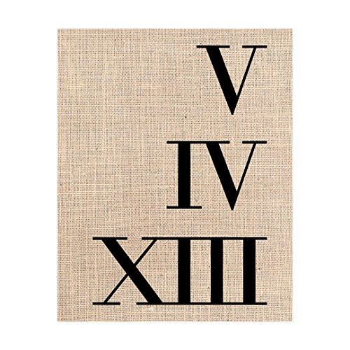 Roman Numeral Print, Wedding Date Couples Gift, Burlap Print 8x10 or 11x14, (Sultans Secret Door)