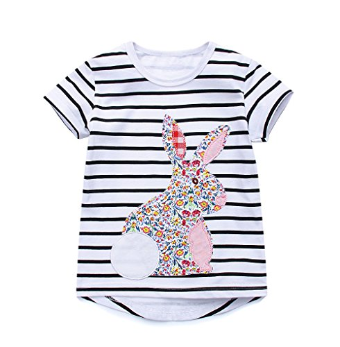Inside Out Striped Shirt - Girls Kid's Short Sleeve Bunny T-Shirts Rabbit Classic Striped Tops(White, 5T)