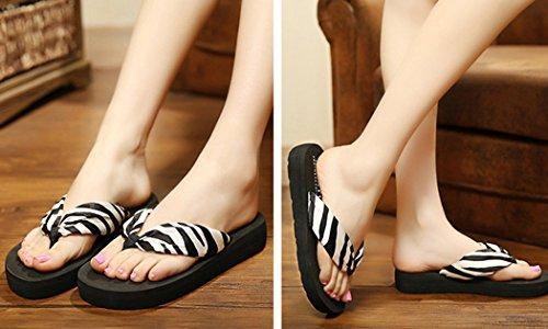 D'été Pour Antidérapant De Zebra Tongs Pantoufles Bohème M Fond Femmes Épais Fascigirl Plage T88qdwRv