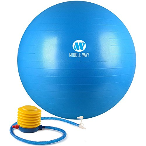 Fitness Exercise Ball 65cm blue - Ideal as Yoga Ball, Pilates Ball, Gym Ball,Home Workout Ball - Stiff Ball with Comfortable Texture - Burst Resistant Design.