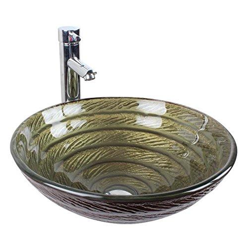 BL- Bathroom glass wash basins art basin/taps/BL-ue thread (42014512mm) , basin + faucet and accessories free shipping