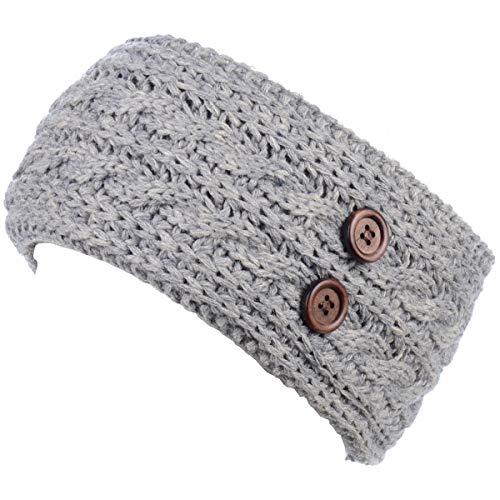 BYOS Women's Winter Chic Cable Warm Fleece Lined Crochet Knit Headband Turban