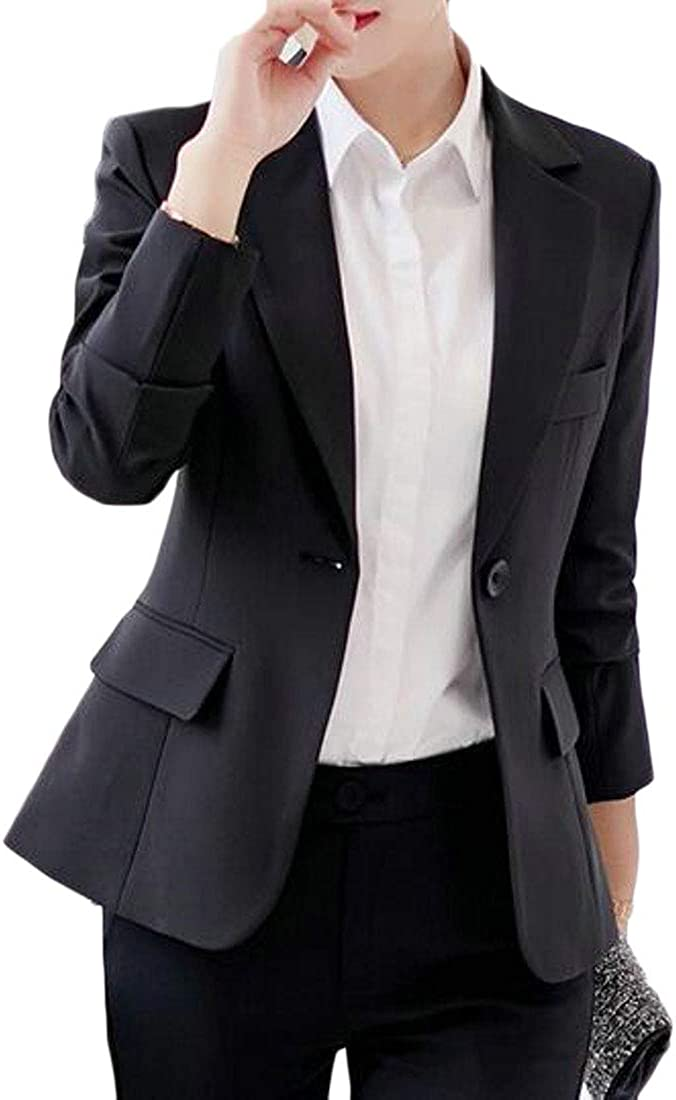 JYZJ Womens Solid Color Double Breasted Formal Business Work Blazer Jacket Suit Coat