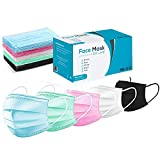 Surgical Earloop Face Mask - Masks for Medical Procedure, Dust Mask, Flu Protection, Allergy and Pollen - Box of 50 - Green, Blue, Black, White, and Pink Colors