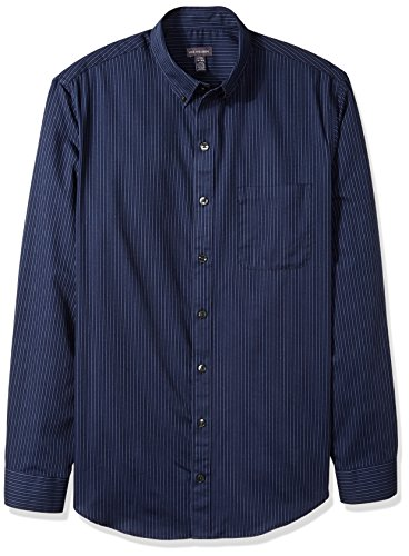 Van Heusen Men's Size Big and Tall Wrinkle Free Poplin Long Sleeve Button Down Shirt, Blue/Black Iris, Large