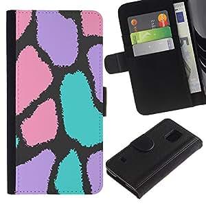 Paccase / Billetera de Cuero Caso del tirón Titular de la tarjeta Carcasa Funda para - Spots Abstract Pattern Fur Animal - Samsung Galaxy S5 V SM-G900