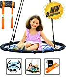 Trailblaze Spider Web Tree Swing - [Upgraded] Double Straps Hanging Kit - Extra Strong Net Disk Swing for Tree Holds 650 lbs - Kids Saucer Tire Swings for Outside Quick & Easy to Install