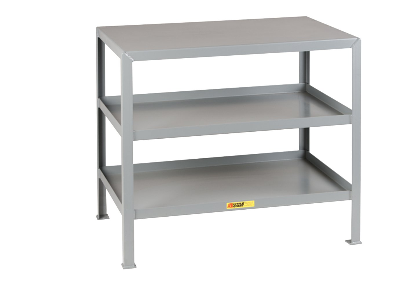 Little Giant MT1824-3 Welded Steel Multi-Shelf Machine Table, Top and 2 Lower Shelves, 2000 lb. Load Capacity, 32-1/2'' x 24'' x  18'', Gray