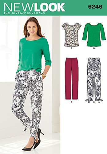 Simplicity New Look Pattern 6246 Misses Tapered Ankle Pants and Stretch Knit Tops, Sizes 8-10-12-14-16-18