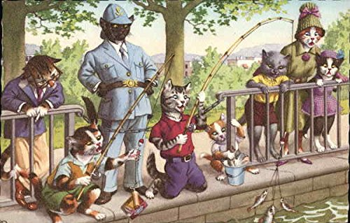 Cats Fishing Dressed Animals Original Vintage Postcard from CardCow Vintage Postcards