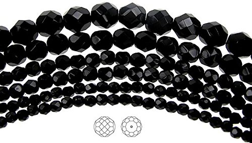 8mm (51 beads) Jet Black, Czech Fire Polished Round Faceted Glass Beads, 16 inch strand