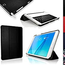 """iGadgitz Premium Black PU Leather Smart Cover Case for Samsung Galaxy Tab A 9.7"""" SM-T550 with Multi-Angle Viewing stand + Auto Sleep/Wake + Screen Protector"""