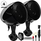 GoHawk AN4 Gen.2 All-in-One Built-in Amplifier 4' Full Range Waterproof Bluetooth Motorcycle Stereo Speakers Audio Amp System w/AUX for 7/8 to 1-1/4 Bar Harley ATV RZR UTV 4 Wheeler (AN4 Black)