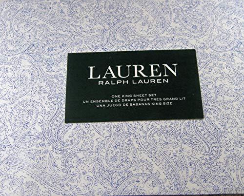 (Lauren 4 Piece King Size Paisley Floral Sheet Set Indigo Blue and White 100% Cotton)