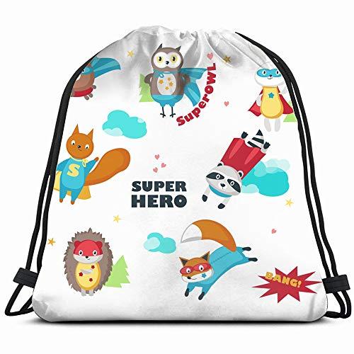 Superhero Animals Isolated On White Wildlife Animal Signs Symbols Drawstring Backpack Bag For Kids Boys Girls Teens Birthday, Gift String Bag Gym Cinch Sack For School And -