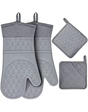 Gesentur Silicone Oven Mitts & Pot Holders Set 600 F Heat Resistant, Extra Long Oven Gloves Flexible for Kitchen Cooking Baking Grilling Microwave with Quilted Liner BPA Free Non-Slip