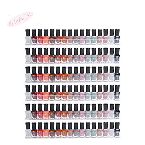 Display4top 6 Pack Of Clear Acrylic Nail Polish Rack, Kids Invisible Floating Bookshelf, Wall Mounted Display Organizer
