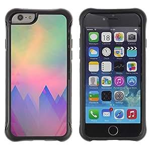 LASTONE PHONE CASE / Suave Silicona Caso Carcasa de Caucho Funda para Apple Iphone 6 / mountains polygon art teal purple sun