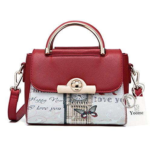 Yoome Crossbody Bags Tiny Print Pattern Elegant Cross Top Handle Satchel Bags For Women - Burgundy Burgundy