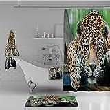 iPrint Bathroom 4 Piece Set Shower Curtain Floor mat Bath Towel 3D Print,Wild Animal Carnivore Endangered Feline Safari,Fashion Personality Customization adds Color to Your Bathroom.