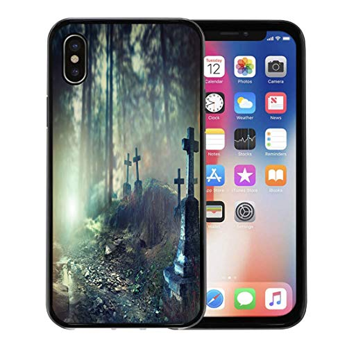 Semtomn Phone Case for Apple iPhone Xs case,Halloween Foggy Graveyard at Night Old Spooky Cemetery in Moonlight Through The Trees for iPhone X Case,Rubber Border Protective Case,Black