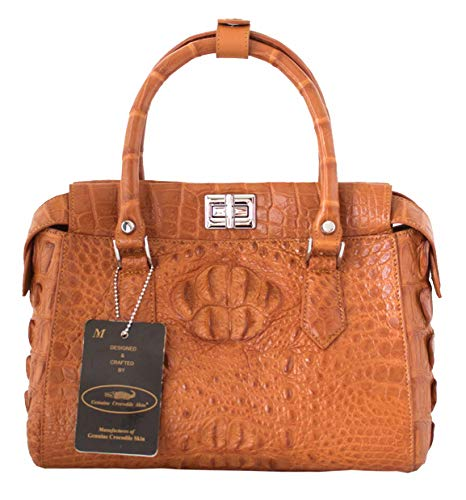 Crocodile Handbag M Tote Authentic Tan Bag Hornback Skin Hobo W Strap Womens 15wwFCqxp