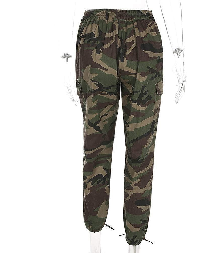 Guiran Femme Taille Haute Camouflage Fermeture éclair Combat Pantalons  Treillis Militaire Cargo Pantalon de Travail Multi Poches f3c53428306