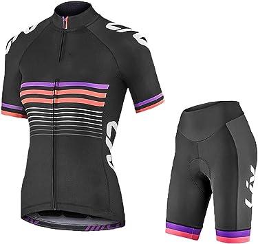 ZEMER Maillot Ciclismo Mujer Cclismo Conjunto de Ropa + Culote Pantalones Acolchado 20D para Bicicleta Verano Deportes al Aire Libre: Amazon.es: Deportes y aire libre
