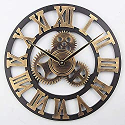 Timelike Large 3D Retro Wall Clock, Silent Non-Ticking Wooden Gear Wall Clock Rustic Vintage Quartz Clocks for Home Living Room Decoration (Bronze-Roman Numbers, 18 Inch)