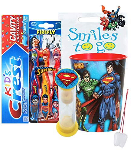 Superman 6pc. Bright Smile Oral Hygiene Bundle! 3pk Soft Manual Toothbrush, Toothpaste, Brushing Timer & Mouthwash Rinse Cup! Plus Dental Gift Bag & Tooth Saver Necklace!