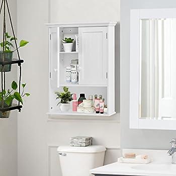 Tangkula Wall Mount Bathroom Cabinet Storage Organizer