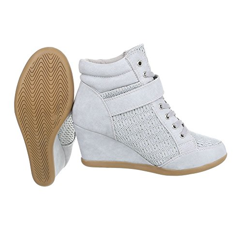 Ital-Design Sneakers High Damenschuhe Keilabsatz/Wedge Keilabsatz Reißverschluss Freizeitschuhe Hellgrau 876-Y