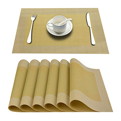 Top Finel Placemats,Vinyl Table Mats Set of 6,Heat Resistant Place Mats for Dining Table Washable Anti-Skid,Yellow