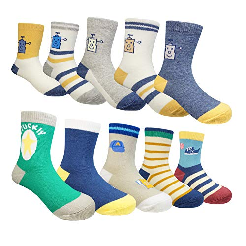 Muyubei Fashion Boy's and Girl's Children's Wearing ,Lovely Clothing Football Pattern, Robot ,Spliced,Stripes,White,Yellow Color Cotton Baby Socks,10 Pairs (Robot, L-6-8 Years(17-20cm))
