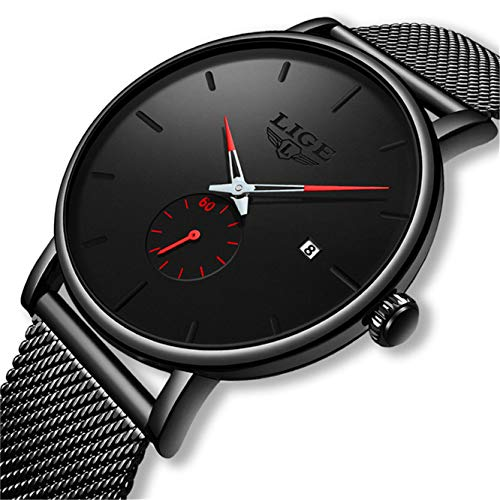LIGE Men's Watch Waterproof Analog Quartz Watch Black Stainless Steel Mesh Band Fashion Business Wristwatch Unisex