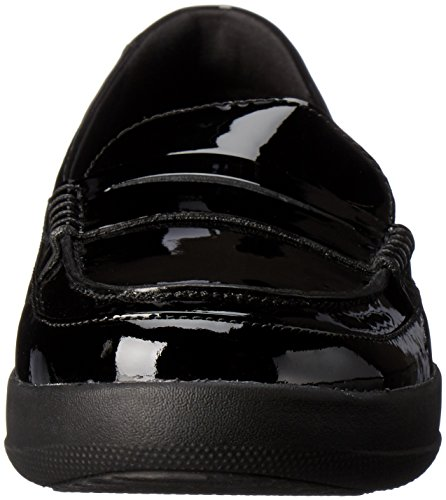 Fitflop Kvinners F-sportslig Patent Kroner Loafers Flat Svart Patent