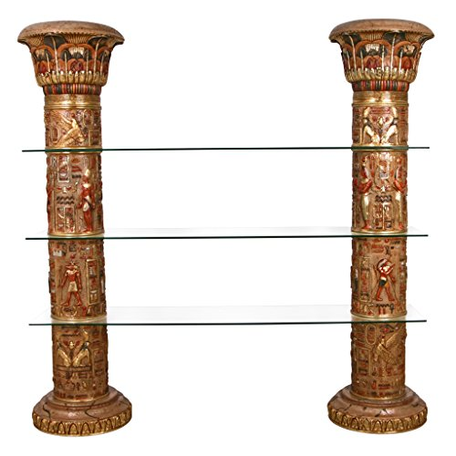 - Design Toscano Egyptian Columns of Luxor Shelves, Full Color