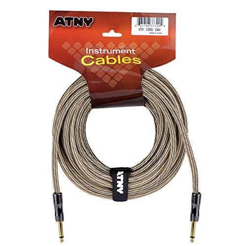 - ATNY Braided Electric Guitar Cable – Professional Grade Musical Instrument Amplifier Cord with Nickel-Plated Dual Straight Plugs and Champagne Gold Tweed Jacket (50 Feet, Champagne Gold)