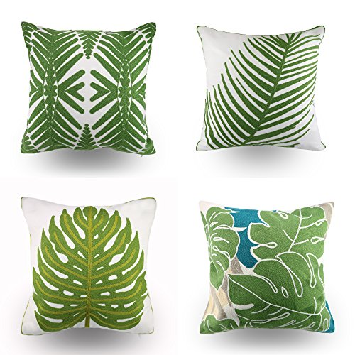Hodeco Tropical Leaves Embroidery Throw Pillow Covers 18x18 Decorative Floor Pillow Cover for Couch Chair Bed Room 100% Cotton Cushion Cover Throw Pillow Case, Green Leaf Plant Embroidered, Set of - Green Floral Cushion